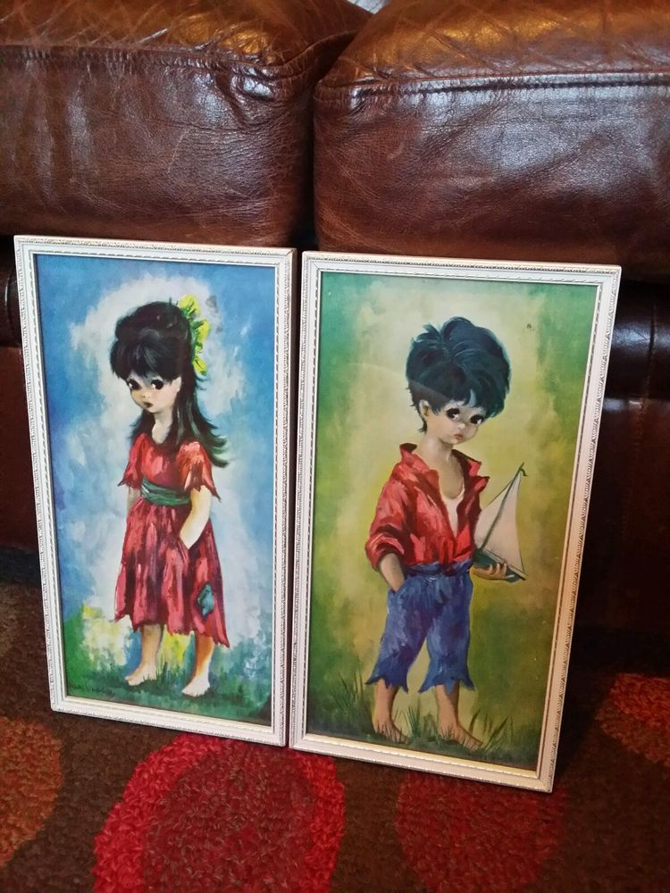 Vintage Retro Kitsch Pair of Matching Dallas Simpson 60\'s Pictures ...