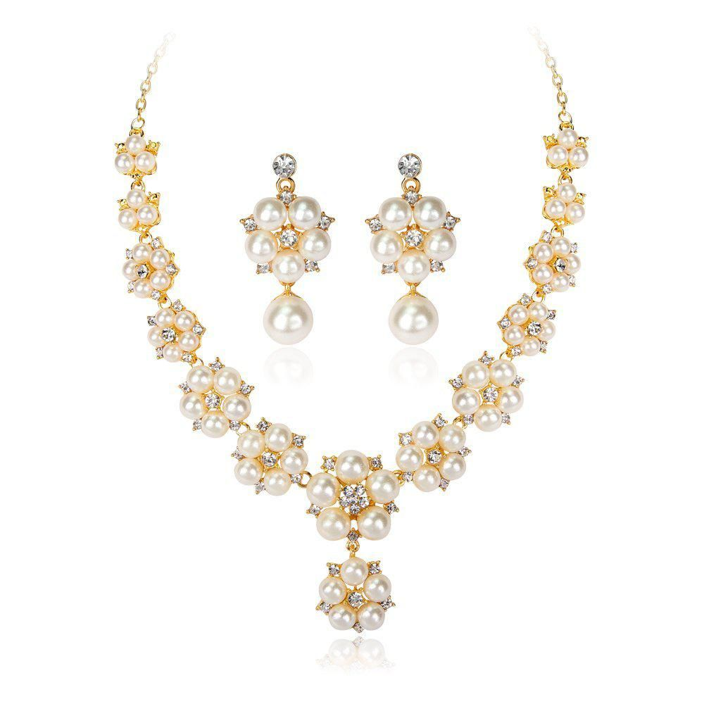2a3557b2943cb1 Hot Imitation Pearls Bridal Jewelry Sets For Women Gold Color Rhinestone Necklace  Earring Sets Wedding Jewelry. Yesterday's price: US $5.63 (4.89 EUR).