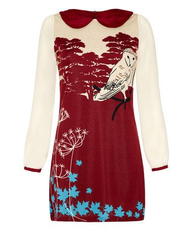 Another great find on #zulily! Red & White Owl Shift Dress #zulilyfinds