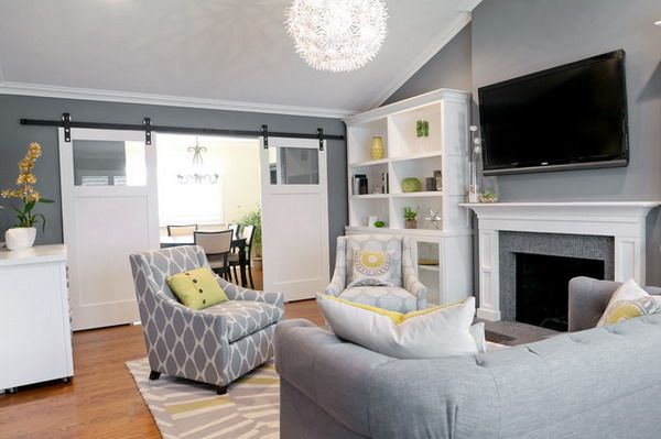 Small Living Room Within Light Grey Color