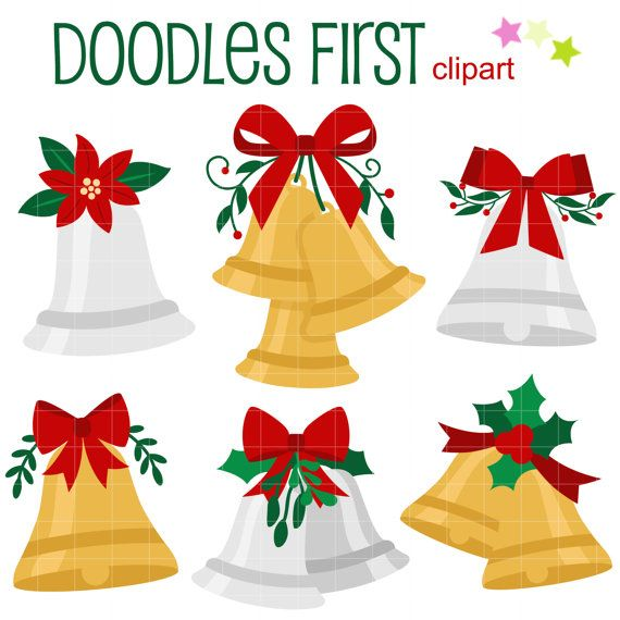 This Clipart Set Includes The Following Elements 6 X Christmas Bells Each Illustration Is
