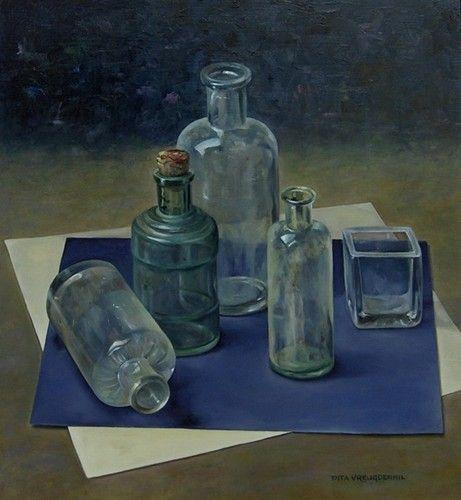 Stilleven met gewoon glas, 31 x 28 cm, olieverf op paneel