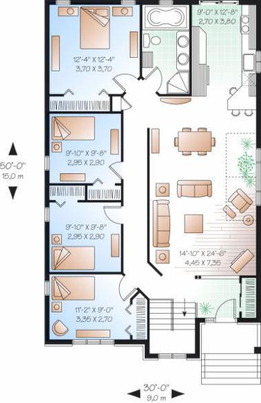 Hoy Mi Busqueda Fue Bastante Sencilla Una Casa De Un Solo Piso Con 4 Habitaciones Tres Piezas Casas Europeas Planos De Casas 3d Planos Para Construir Casas