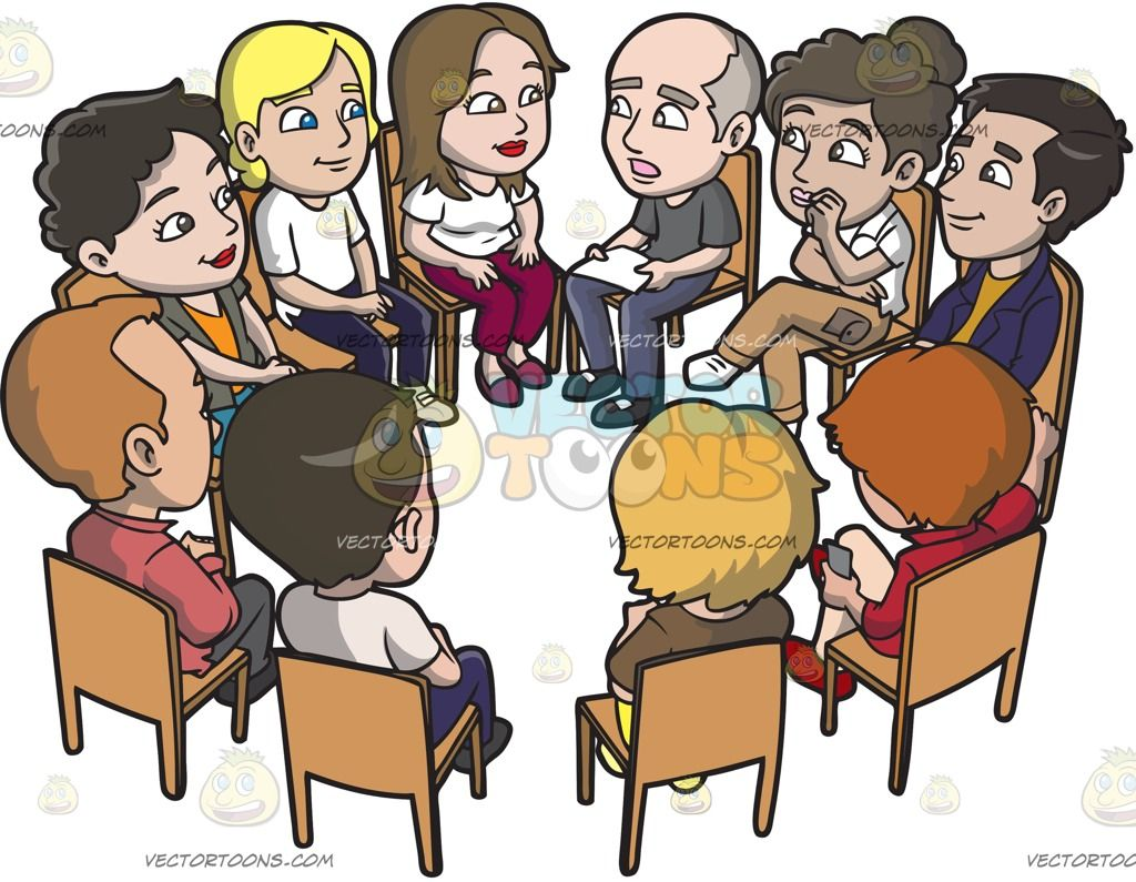 A Big Support Group Meeting Vector Illustrations