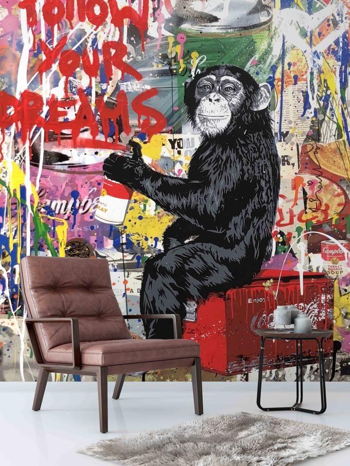 3D Gorilla Graffiti Wall Mural Wallpaper 60 Graffiti