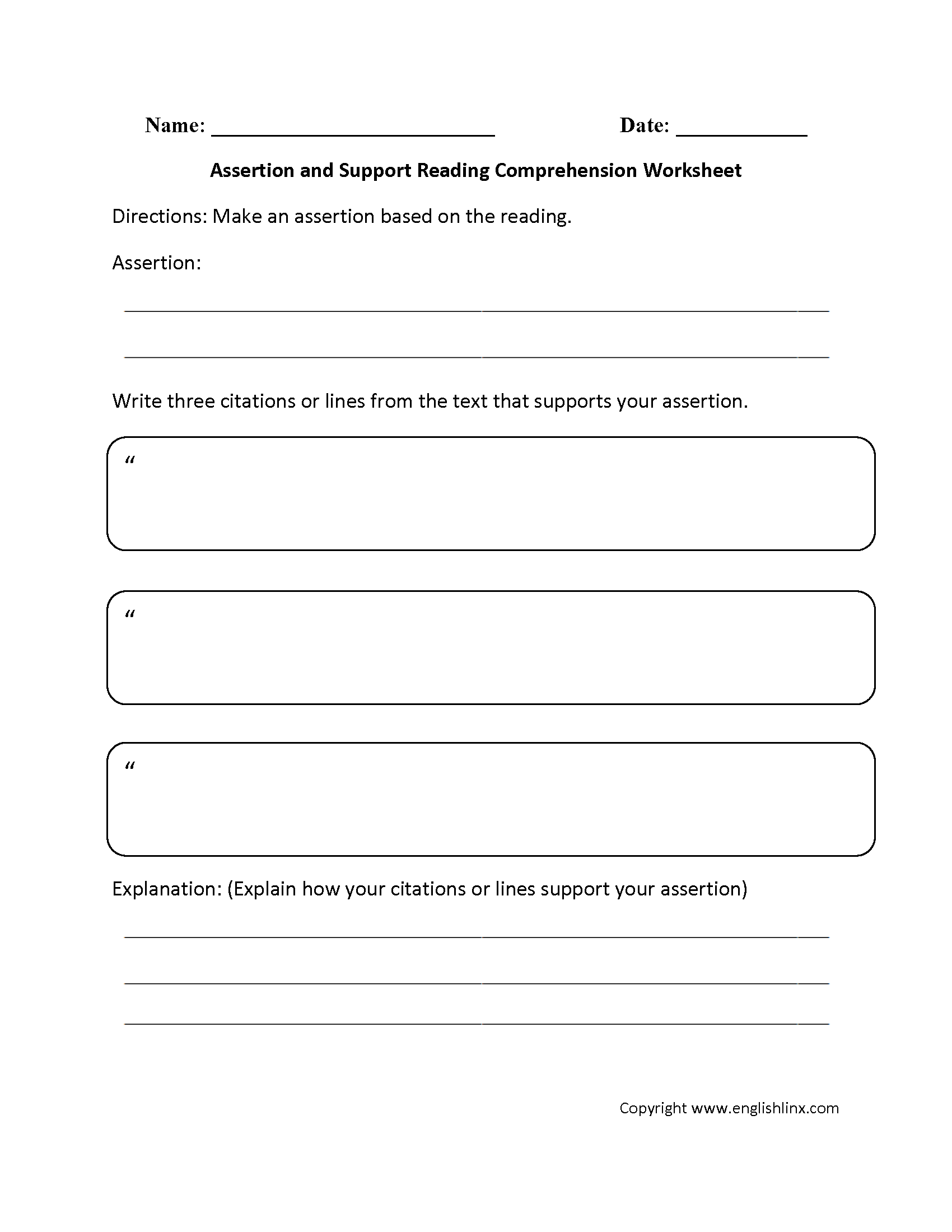 Assertion And Support Reading Comprehension Worksheet