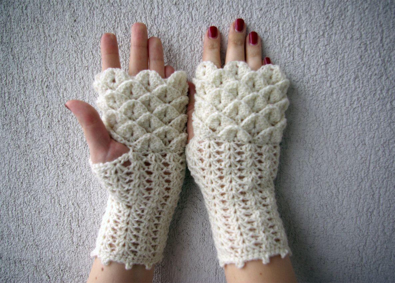 Women Fingerless gloves, crochet crocodile stitch mittens, cute arm ...