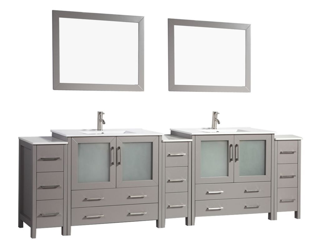 Brescia 108 Inch Bathroom Vanity In Grey With Double Basin Vanity Top In White Ceramic And Mirror Bathroom Vanity Vanity Vanity Top