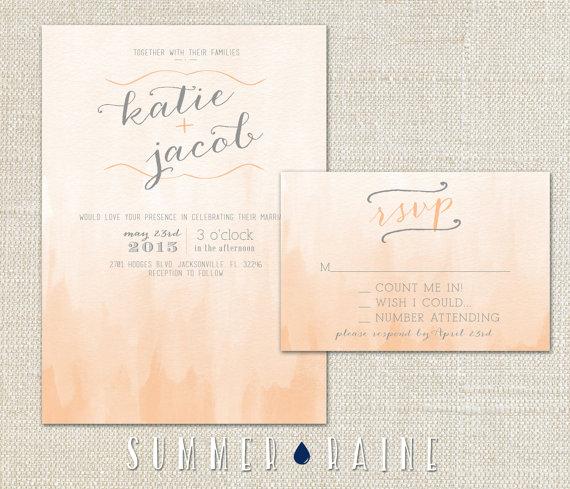 Watercolor Wedding Invitation OMBRE  2 Piece SET  by SummerRaine