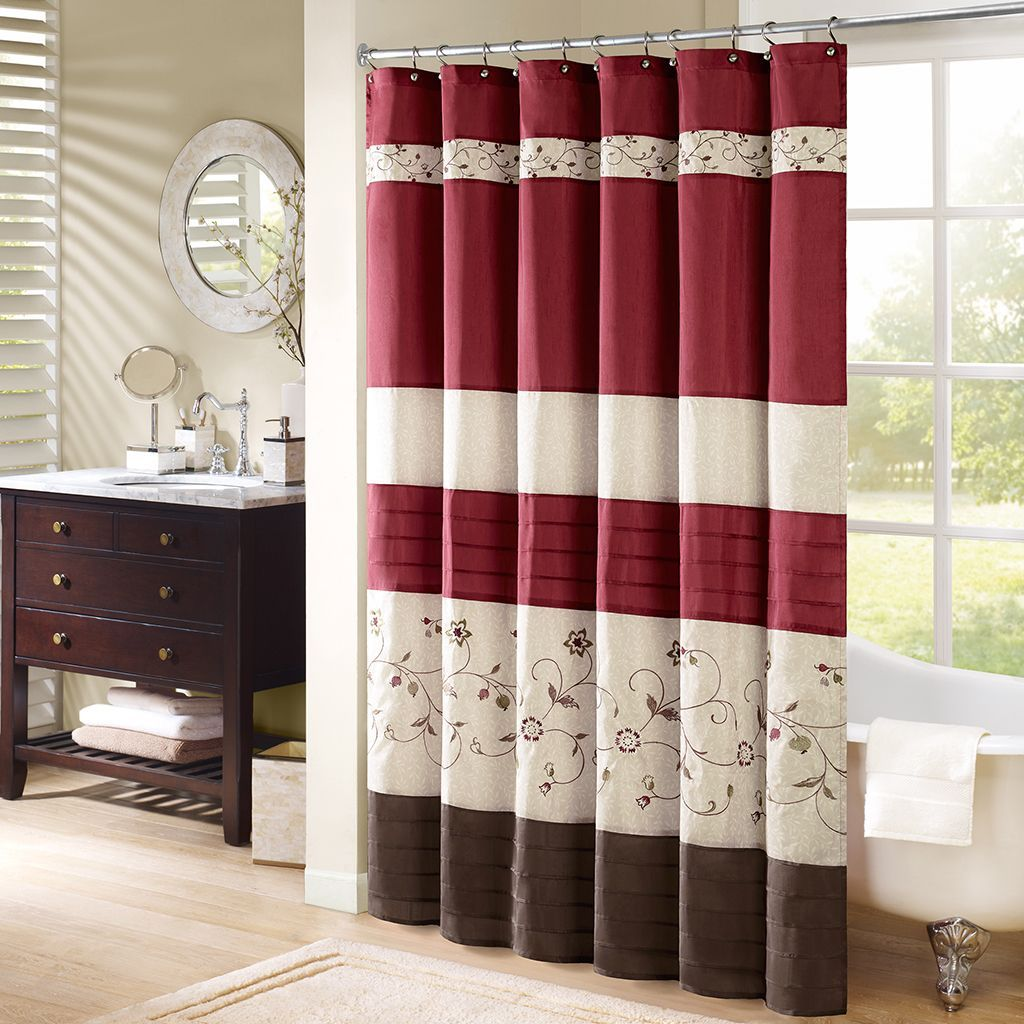 Add An Elegant Addition To Your Bathroom With The Madison Park Belle Shower Curtain Its Rich Red Wine Color And Delicate Embroidery Are Perfect