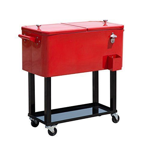 Rolling Ice Chest Portable Patio Party Drink Cooler Cart Red 80 Qt Bottle  Opener