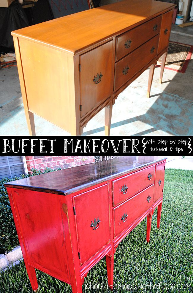 How to take your old furniture from shabby to chic. This is an easy guide  to distressing painted furniture with stain. - Buffet Reveal: Distressing Painted Furniture With Stain DIY