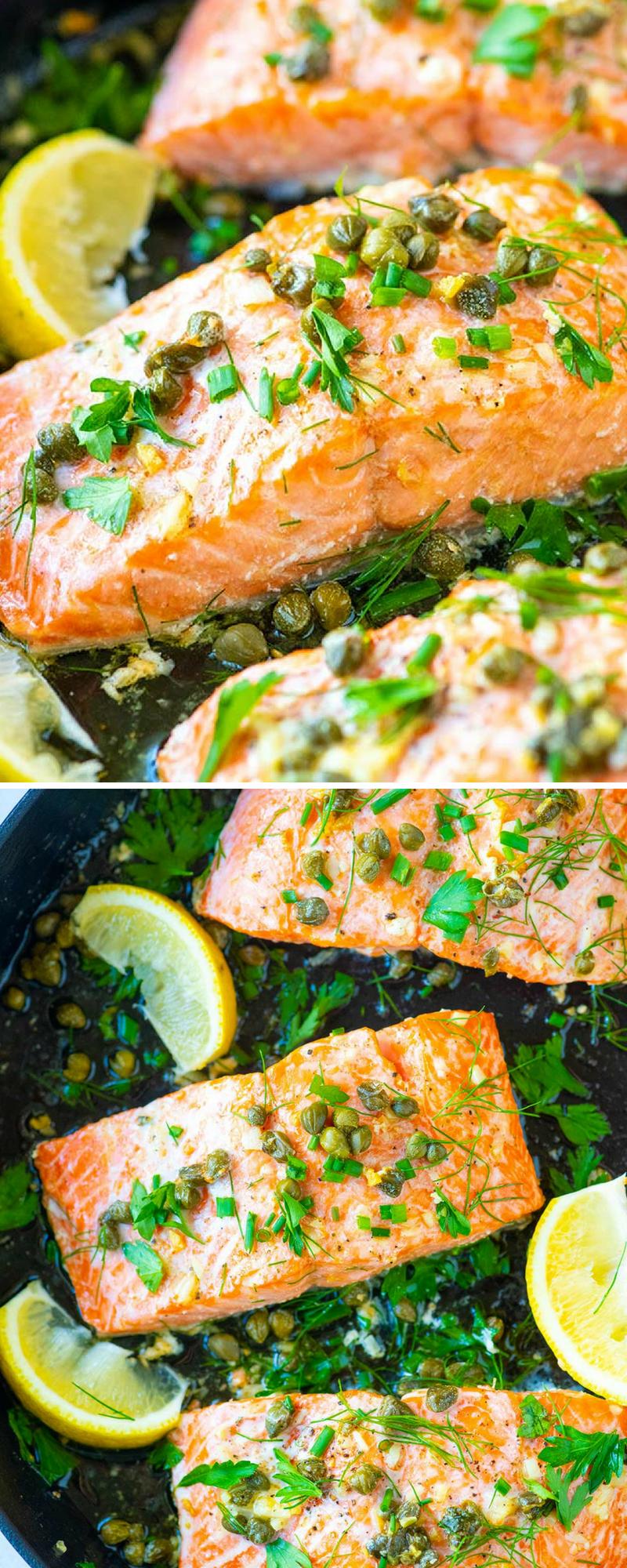Garlic Caper Butter Baked Salmon Recipe Baked Salmon Lemon Baked Salmon Recipes Salmon Recipes