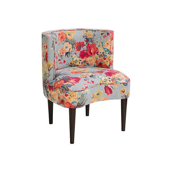 Shelby Chair Gray Pink Floral Accent Occasional Chairs Fabric