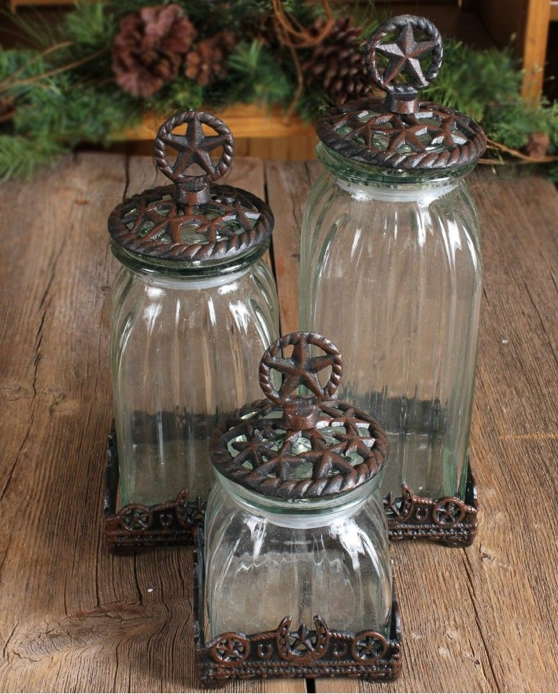 Silverado Glass Star Canister Set   3 Pieces Looks Like Cabin Fun Stuff To  Me! Western Kitchen ...