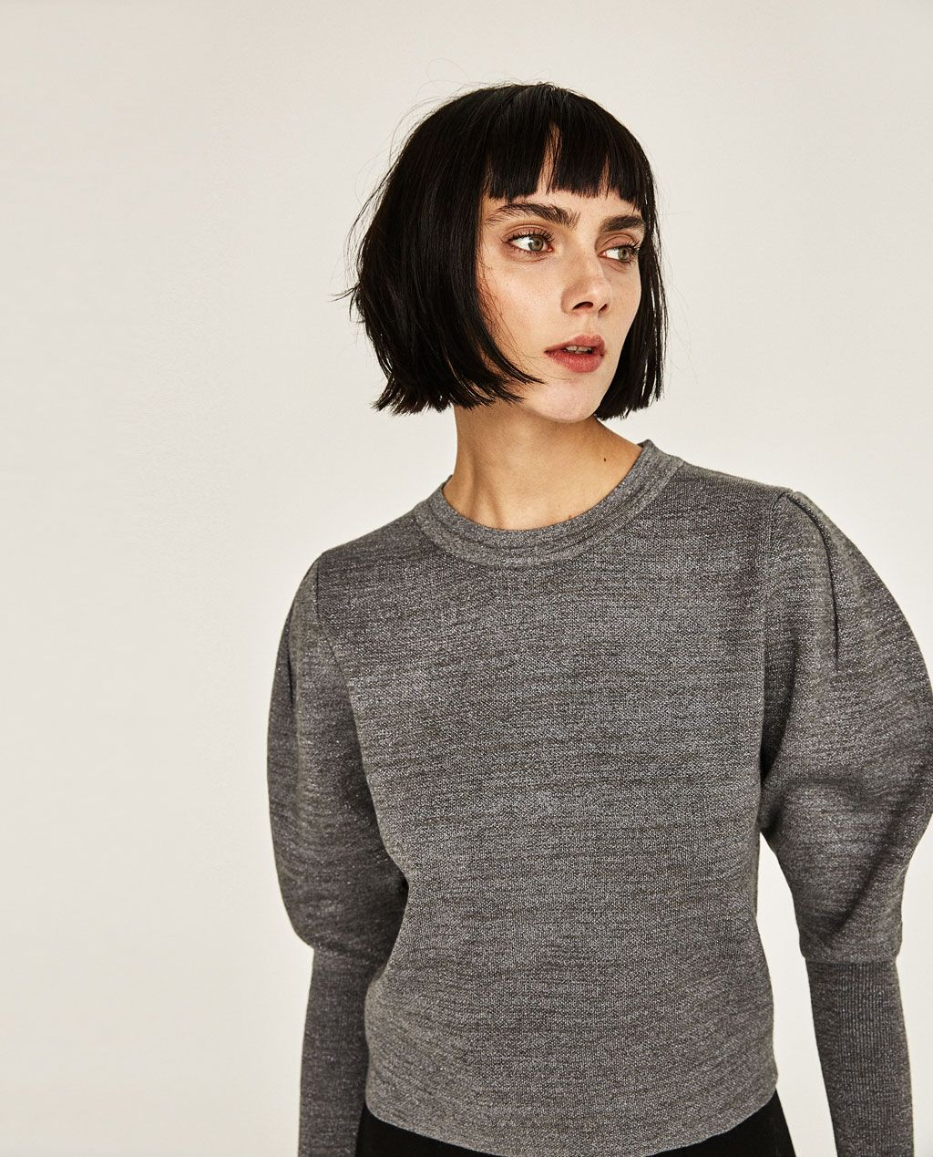 Zara Puff Sleeve Cropped Sweater in Grey | Inside my closet ...