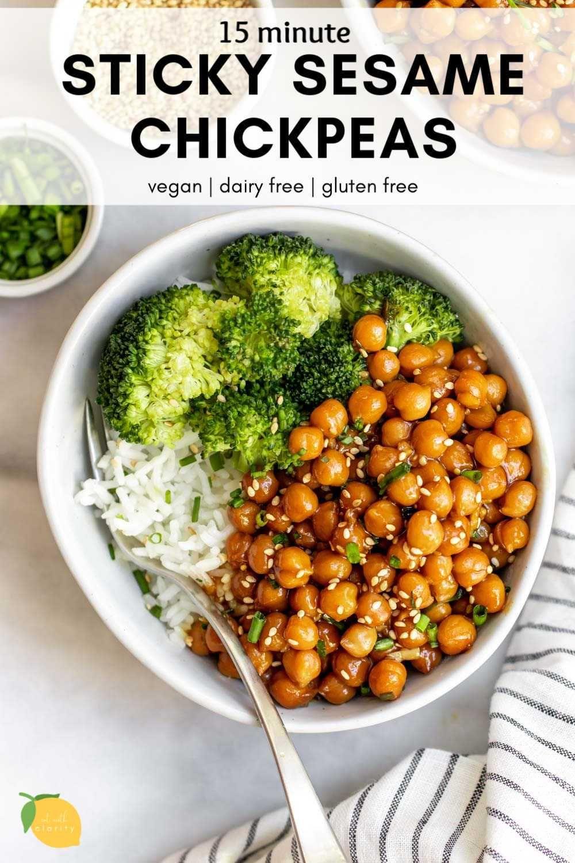 Vegan Sticky Sesame Chickpea Recipe Eat With Clarity Recipe Chickpea Recipes Dinner Chickpea Recipes Easy Chickpea Recipes
