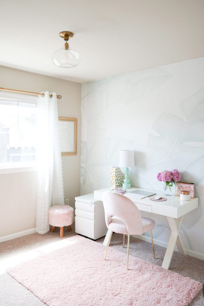 Blush, mint and gold office with a few vintage touches. Our new office is functional, bright, feminine and beautiful. Best part, it can be put together on a budget! #blushmintgold #blushoffice #officedecor #feminineoffice #office #mint #blush #gold