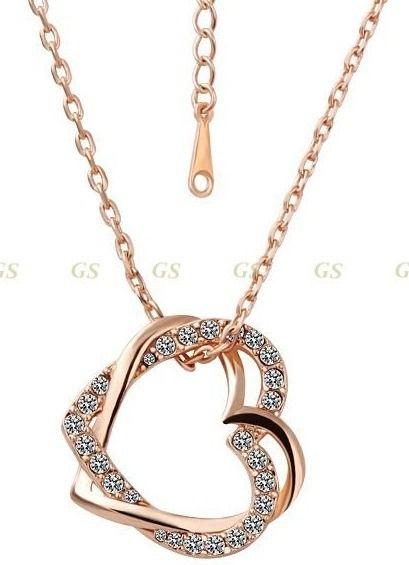 1ced501a4440e colar corrente coração folheado a ouro rose   Jóias   Jewelry ...
