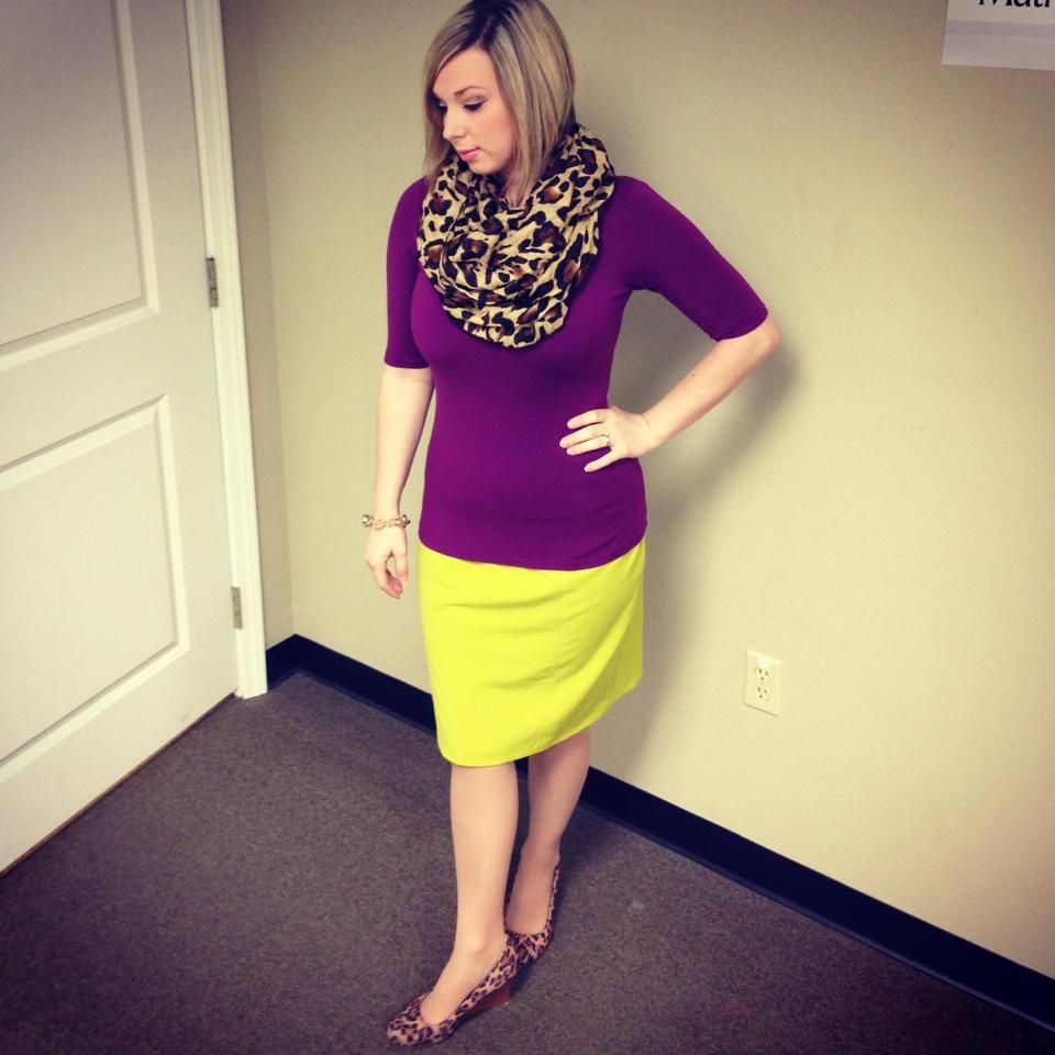 Leopard, chartreuse, and fusha. Great combo and perfect for late summer into fall. Modern Modesty