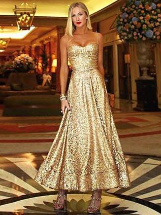 Sleeveless Golden Evening Dresses, S-XL, Large Hem