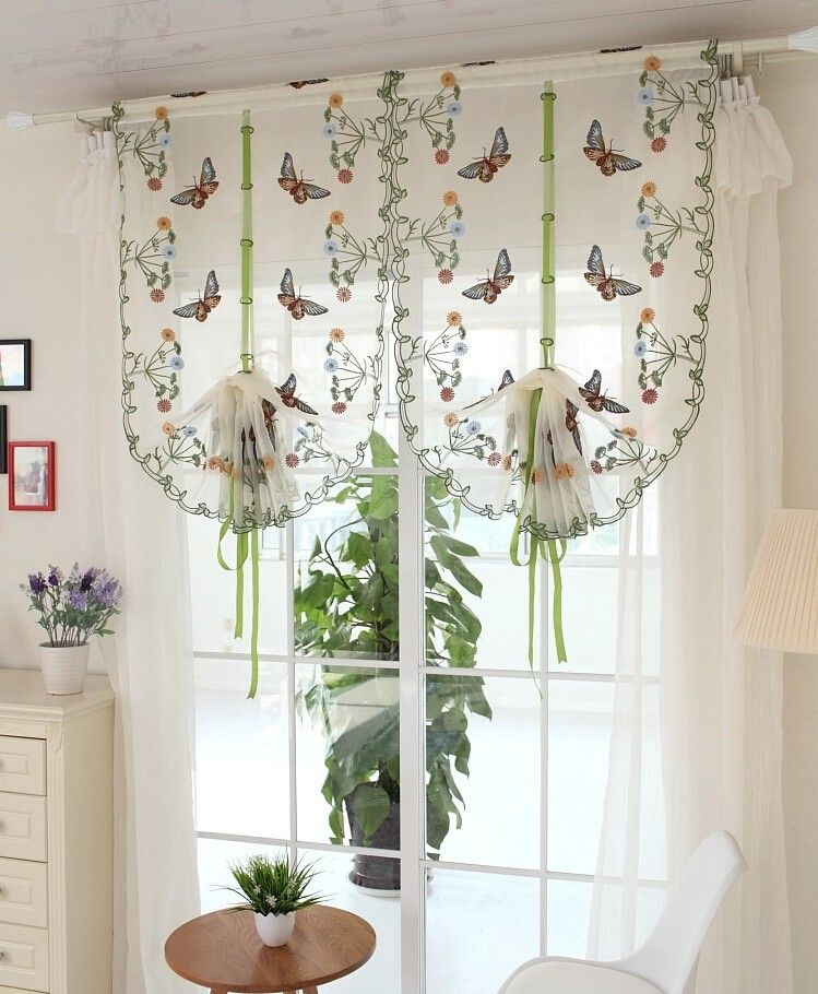 Rustic Butterfly Over Flowers Design Curtain Short Sheer Curtain Panel For  Hotel Home Cafe House Decoration