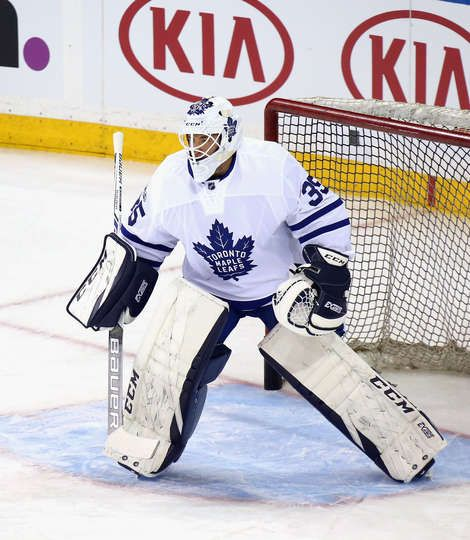 NEW YORK, NY - JANUARY 13: Curtis McElhinney #35 of the Toronto Maple Leafs skates in warm-ups prior to the game against the New York Rangers at Madison Square Garden on January 13, 2017 in New York City. (Photo by Bruce Bennett/Getty Images)