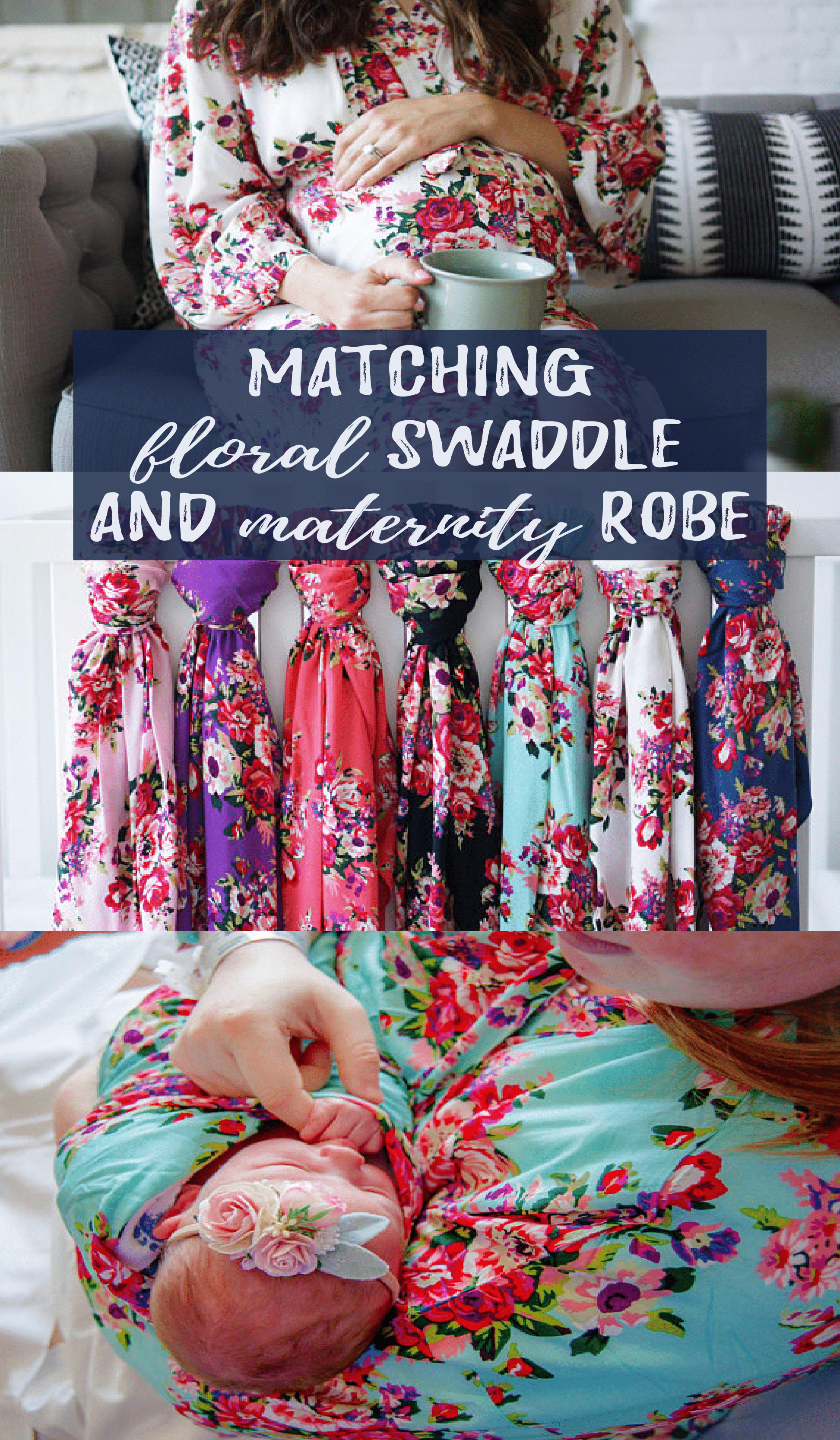 Matching floral swaddle and maternity robe. Love this for mom and ...