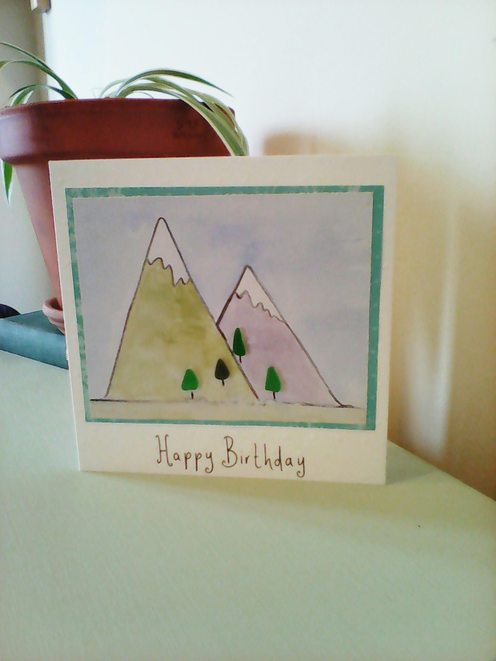 My Mountaineer Card >> Sea Glass Tree And Painted Mountains Birthday Card