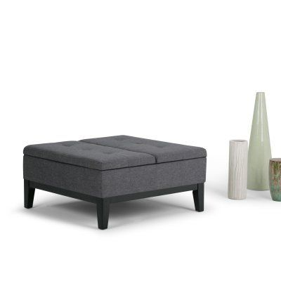 Simpli Home Dover Linen Coffee Table Storage Ottoman Axcot 235 Gl