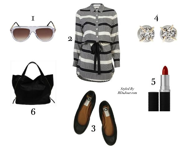 RDuJour | (1) Thierry Lasry - Madly Sunglasses, $425 | (2) Thakoon Addition - Tie Waist Dress, $523 |(3) Lanvin - Leather Ballet Flats, $495 | (4) Melissa Joy Manning - Druzy Diamond Stud Earrings, $375 | (5) Le Métier de Beauté Lipstick in China Beach Red, $32 | (6) Givenchy - Large Tinhan Tote Bag