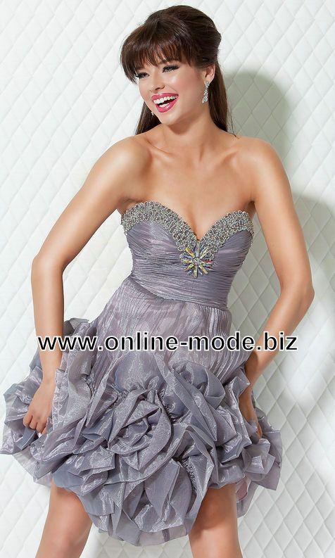 Bustier Abendkleid Cocktailkleid in Silber Grau von www.online-mode ...