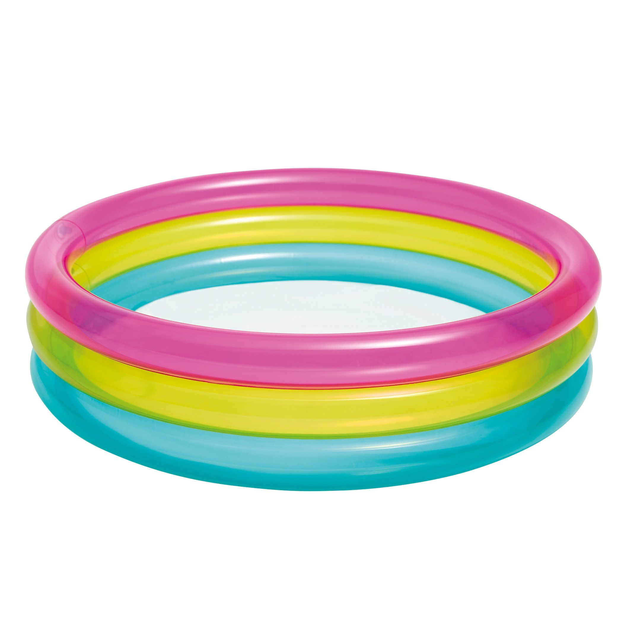 Intex Rainbow Baby Pool For Ages 1 3 34 X 10 Pink Yellow Blue Designed With Three Bright Colored Rings Intex