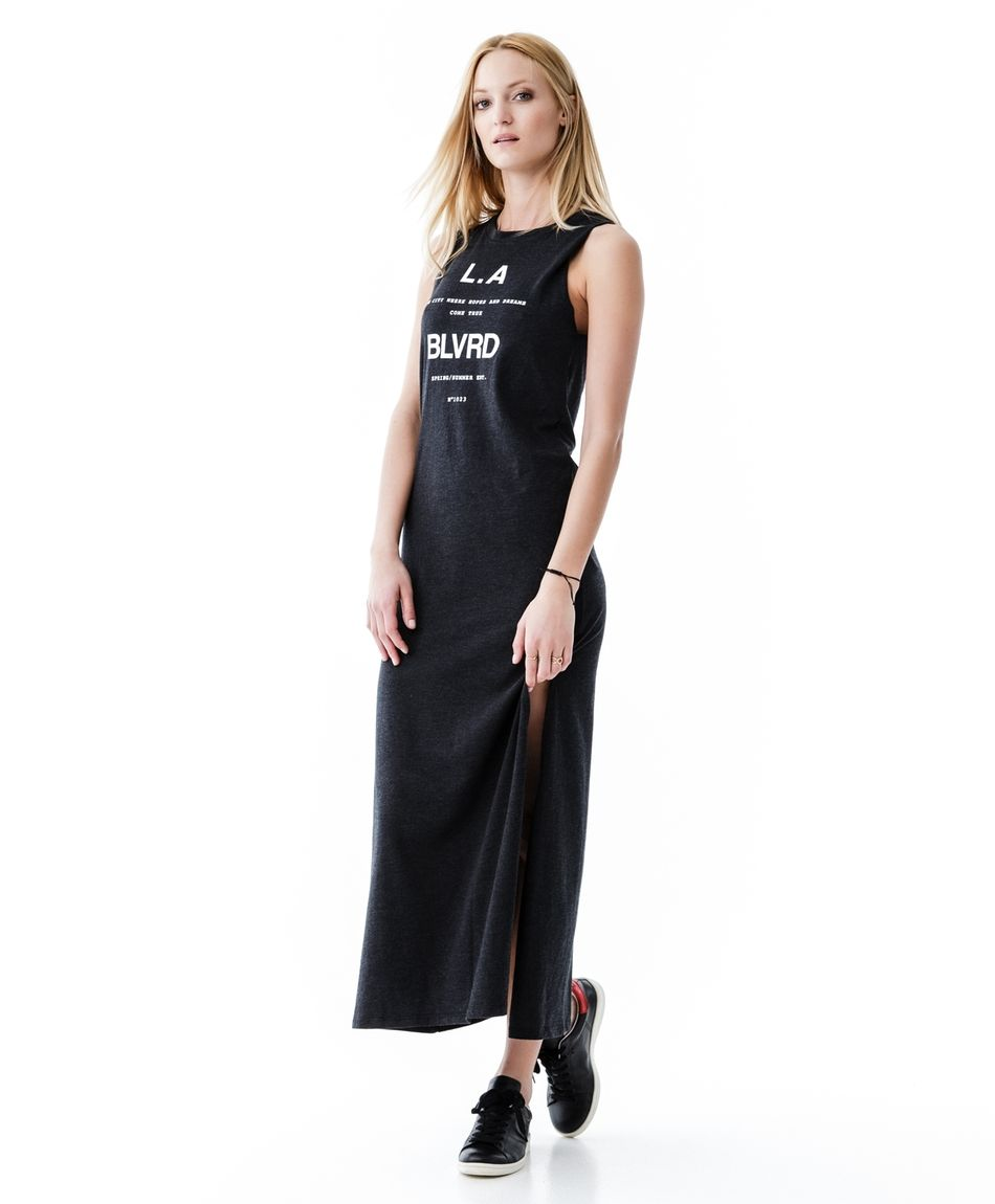 Long black dress with a vent gina tricot new arrivals