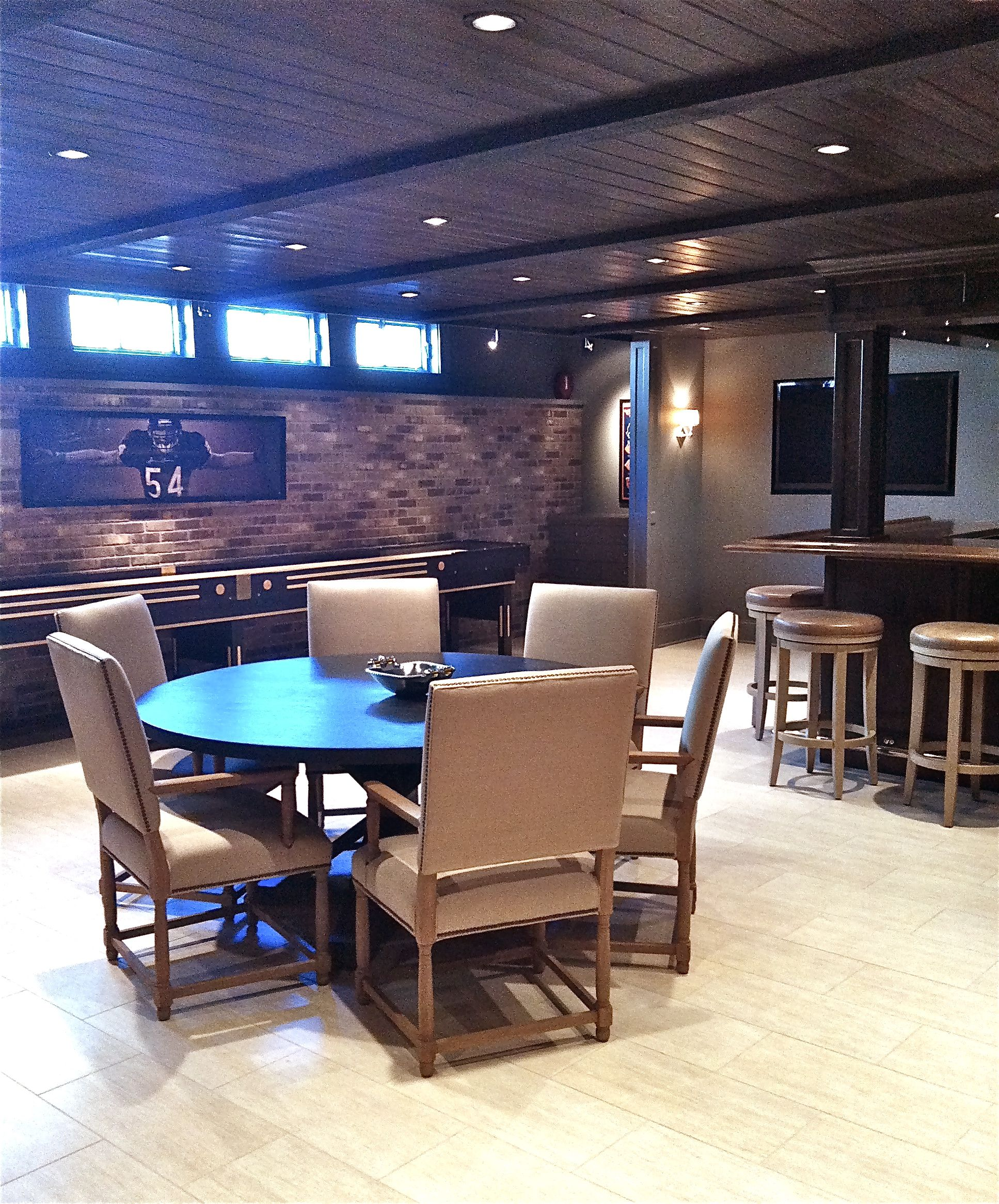 27 Cool Basement Home Theater Ready To Entertain: Shuffleboard And Wood Ceiling