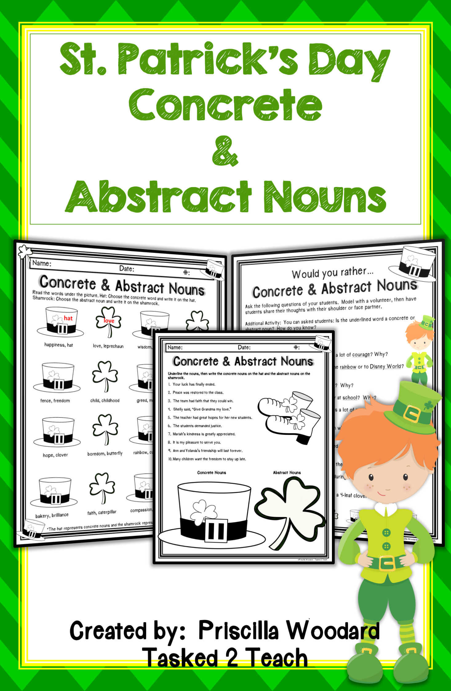 Concrete And Abstract Nouns Worksheets And Task Cards St