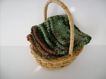 #HandmadeWashclothSet, Custom #Crocheted in Green and Brown by #customcrochet for $9.75