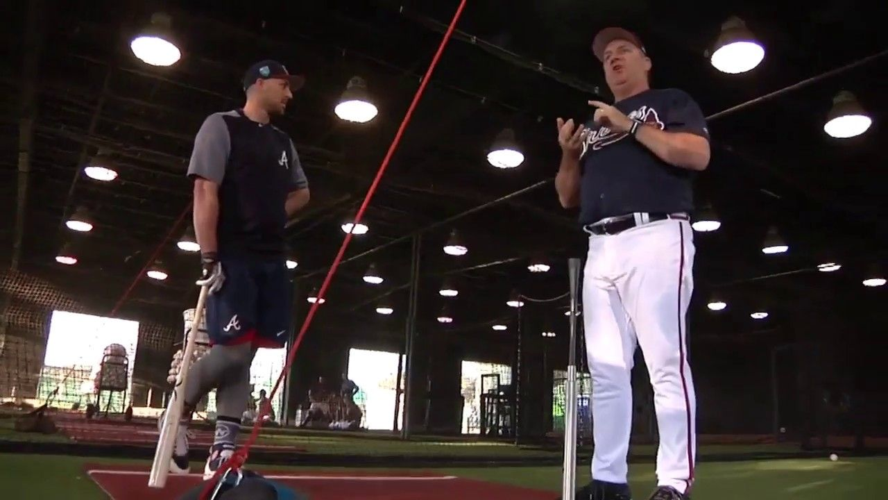 Braves Coach Kevin Seitzer Puts Outfielder Lane Adams Through Hitting Drills Youtube The Outfield Baseball Hitting Baseball Hitting Drills