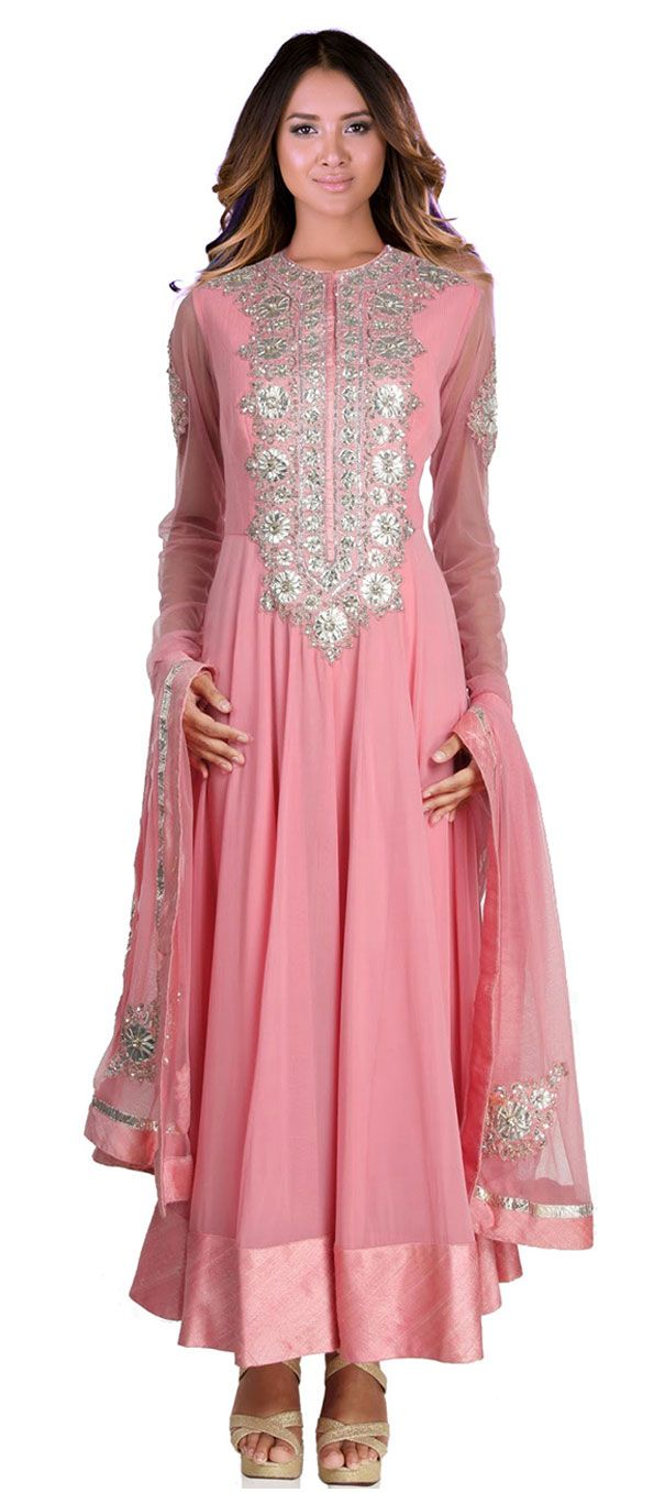 448191: Pink and Majenta color family stitched Anarkali Suits ...