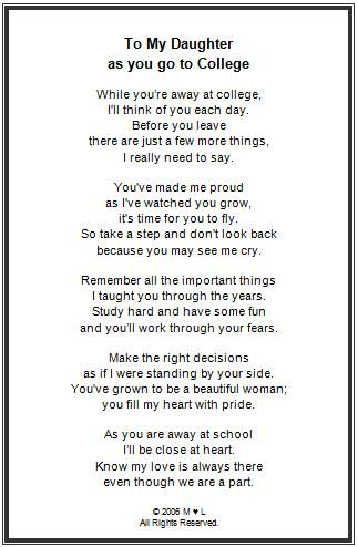 Off To College Framed Poem Collegeschool Ideas Pinterest