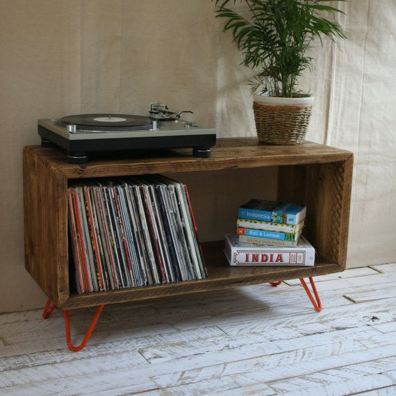 rustic industrial hairpin leg scaffold board record player stand tv unit vinyl turntable storage. Black Bedroom Furniture Sets. Home Design Ideas