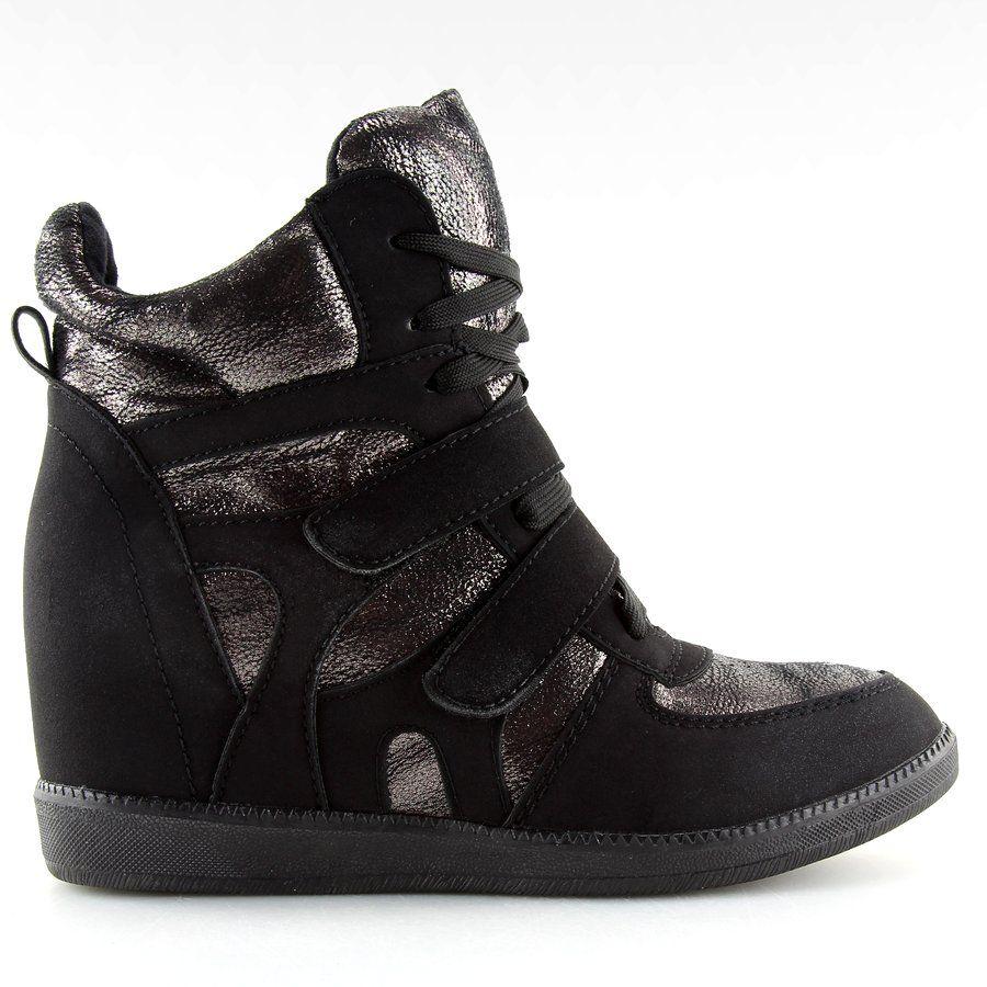 Sportowe Damskie Butymodne Sneakersy Damskie Czarne 925 Y Black Butymodne Black Sneakers Women Womens Sneakers Black Sneakers