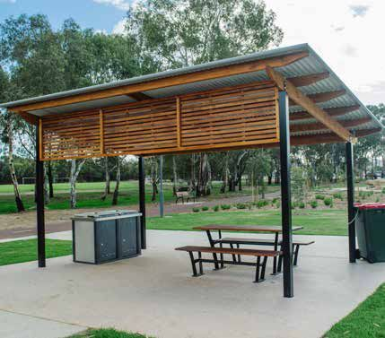 Wood And Steel Shade Structure With Shed Roof Trellis