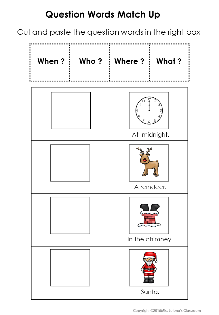 Question Words Matching Set | Words, Christmas worksheets ...