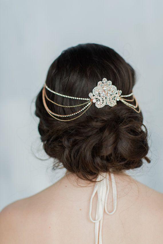 368ba70f1b36a Rose Gold Hair Chain, Bridal Hair Chain, Bridal headpiece, Crystal ...