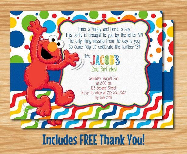 Custom Made Elmo Birthday Invitation Elmo Birthday Elmo Invitation