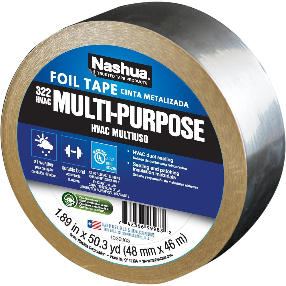 Nashua Tape 1 89 In X 50 Yd 322 Multi Purpose Hvac Foil Tape 1207792 The Home Depot Foil Tape Foil Insulation Tape