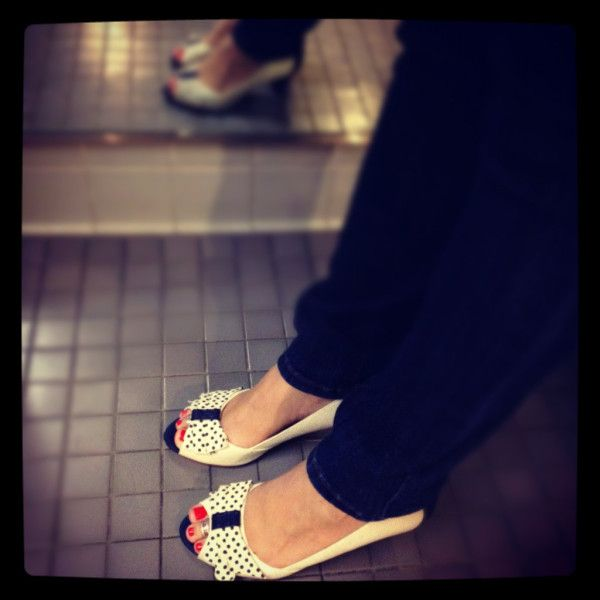 m shell wearing our new MIXED EMOTIONS polka dot mid heels. LOVE!