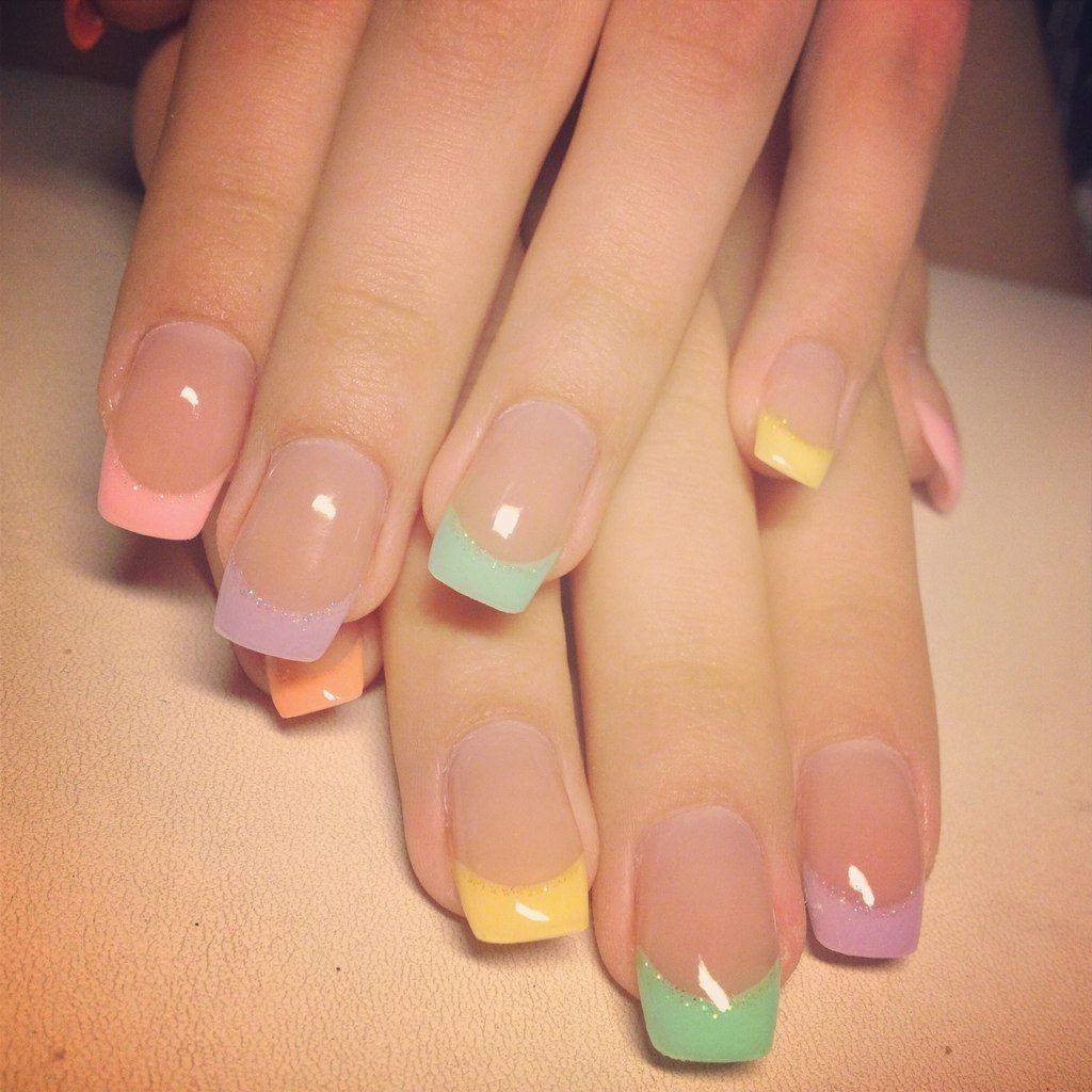 фото гелевых ногтей цветной френч фото