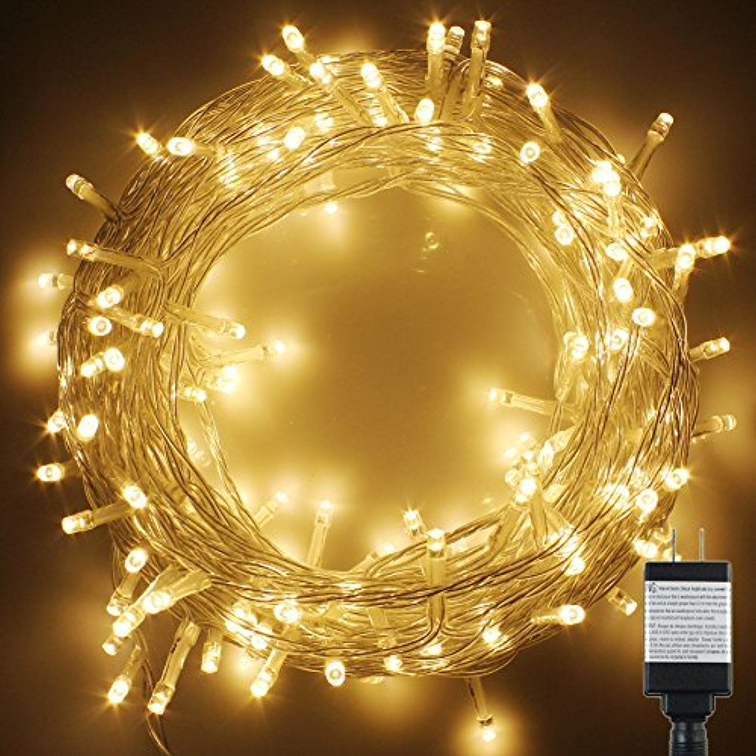 pms 400 led string fairy lights on clear cable with 8 light effects low voltage transformer included ul listed ideal for christmas xmas partywedding